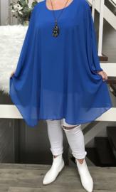 ITALIA oversized poncho/ tuniek met ketting  gevoerd (extra groot)/in meerdere kleuren