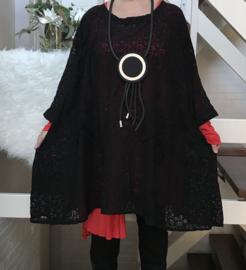 Olivia oversized A-lijn KANTEN  jurk/tuniek apart (extra groot)zwart