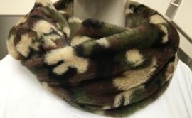 ITALIA cirkel sjaal - van zacht imitatie bont camouflage print