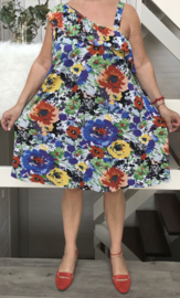 New Jersey tricot A-lijn bloemen zomerjurk /in meerdere kleuren