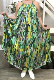Caroline oversized A-lijn zomer silky satin  jurk met zakken  (extra groot)