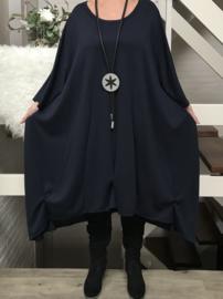Laura oversized A-lijn jersey jurk  apart (extra groot) donkerblauw