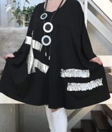 Stella oversized A-lijn viscose jersey tuniek/jurk met zakken apart (extra groot)stretch zwart