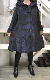 New Jersey waterdicht taft A-lijn tussenjas/mantel met capuchon/ gevoerd zwart/donkerblauw