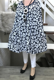 Édith oversized jersey A-lijn jurk/tuniek met zakken apart stretch(extra groot)donkerblauw
