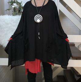 Nina oversized A-lijn KANTEN  jurk/tuniek apart (extra groot)stretch zwart
