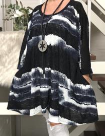 Diana oversized A-lijn jersey tuniek/jurk met zakken apart (extra groot)donkerblauw