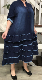 Moonshine katoen jersey jeans  A-lijn jurk apart