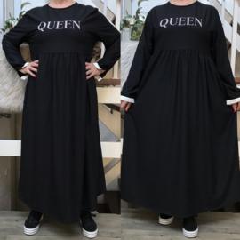 SeeMore  katoen QUEEN A-lijn jurk zwart
