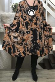 Emma oversized viscose jersey A-lijn jurk/tuniek met zakken apart stretch  (extra groot)stretch