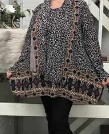ITALIA oversized jersey viscose top/tuniek met sjaal /in meerdere kleuren