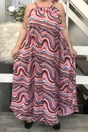 Charlotte oversized A-lijn zomer silky satin  jurk met zakken  (extra groot)