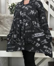 ITALIA jersey  A-lijn tuniek/jurk met sjaal stretch
