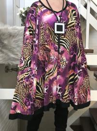 Zoe oversized A-lijn viscose jersey tuniek/jurk met zakken apart (extra groot)stretch