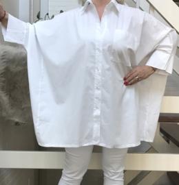 ITALIA oversized katoen blouse/hemd lichtstretch