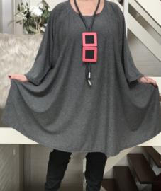 Lisha oversized jersey A-lijn tuniek/ jurk met zakken apart stretch (extra groot)