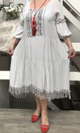 ITALIA viscose A-lijn IBIZA jurk met kant