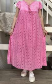 ITALIA de modieuze kleuring  katoen KANTEN A-lijn jurk/gevoerd