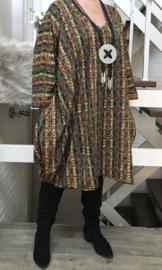 Leoni  oversized viscose jersey A-lijn jurk/tuniek met zakken apart stretch  (extra groot)stretch