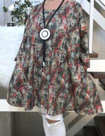 Ilona oversized A-lijn katoen jersey tuniek met zakken apart (extra groot)