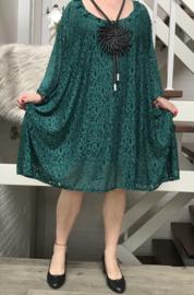 Pia oversized A-lijn KANTEN jurk/tuniek met zakken apart (extra groot)Lace stretch