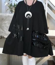 Nora oversized A-lijn viscose jersey tuniek/jurk met zakken apart (extra groot)stretch zwart stretch