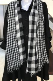 Italia viscose geruite sjaal zwart/wit