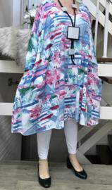 Renate oversized katoen jersey A-lijn jurk/tuniek met zakken apart stretch  (extra groot)stretch