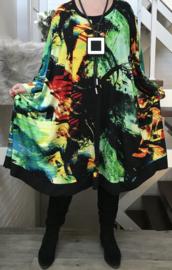 Maya oversized viscose jersey A-lijn jurk/tuniek met zakken apart stretch  (extra groot)stretch