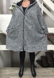 Moonshine oversized gevoerde A-lijn mantel/ jas met capuchon (extra groot) wol/viscose