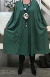 Cindy oversized  imitatie suède A-lijn jersey jurk apart (extra groot) stretch