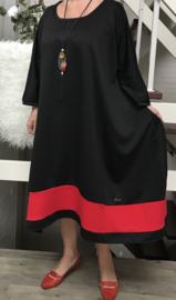 Gladys oversized A-lijn jersey jurk apart (extra groot) zwart/rood