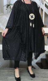 Mary oversized A-lijn KANTEN  jurk/tuniek  stretch  (extra groot)