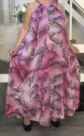 Layla oversized A-lijn zomer silky satin  jurk met zakken  (extra groot)