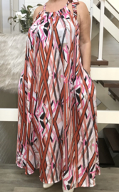 Abigail oversized A-lijn zomer silky satin  jurk met zakken  (extra groot)