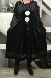 Lisa oversized A-lijn velours stretch jurk met kant (extra groot)