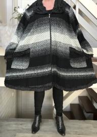 New Jersey  A-lijn jas/mantel wol/acryl (extra groot)zwart/grijs/wit