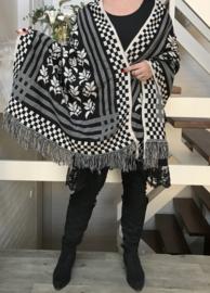 ITALIA  dubbelzijdig gebreid superzacht sjaal/open poncho