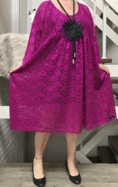 Lene  oversized A-lijn viscose KANTEN jurk apart (extra groot)Lace stretch