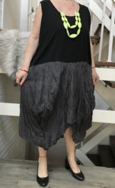 Moonshine jersey katoen asymmetrisch A-lijn tuniek  met inzet van Taft zwart