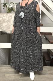 Vincenzo Allocca jersey viscose jurk zwart met zakken en open schouders