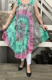 Haley  viscose geverfde asymmetrisch A-lijn jurk