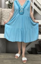 ITALIA de modieuze kleuring oversized viscose jurk/tuniek