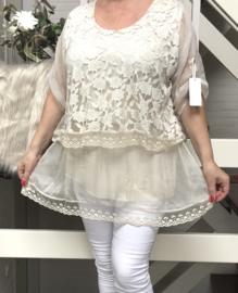 ITALIA MODA  KANTEN top/blouse gevoerd  /in meerdere kleuren