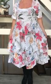 ITALIA  linnen A-lijn jurk met bloemenprint en  verstelbare plooien apart