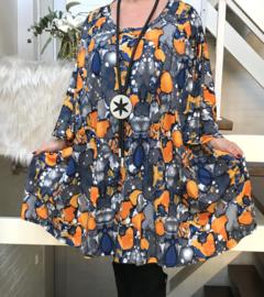 Alyssa oversized jersey A-lijn tuniek/ jurk met zakken apart stretch (extra groot)