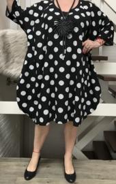 Amalia oversized A-lijn linnen/katoen jurk met zakken apart (extra groot)zwart