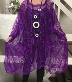 Jessica oversized A-lijn KANTEN  jurk/tuniek apart (extra groot)stretch
