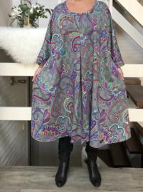 Carlie oversized A-lijn viscose jersey  jurk apart (extra groot)stretch