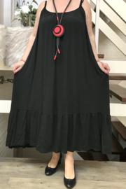 ITALIA jersey viscose A-lijn  jurk stretch zwart